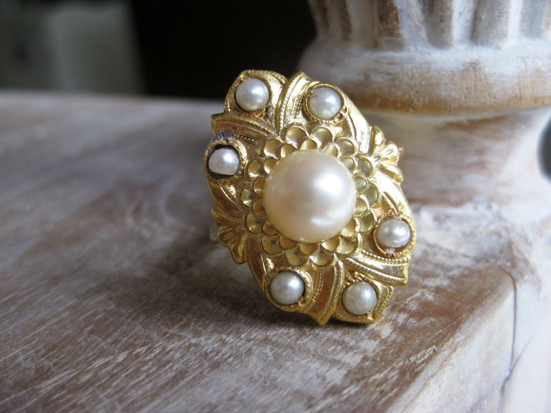 Vintage lansadera ring embellished with pearls.