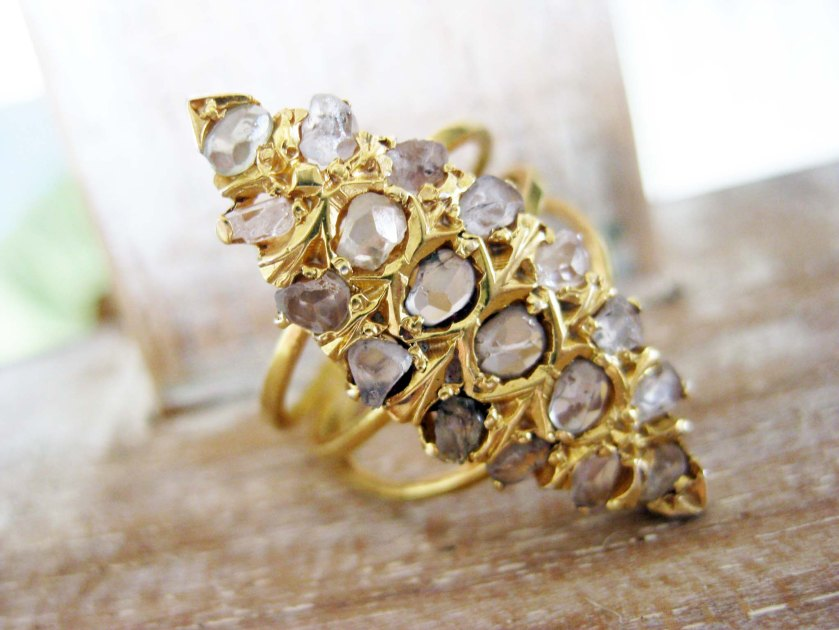 Vintage lansadera ring with diamante in gold-plated silver