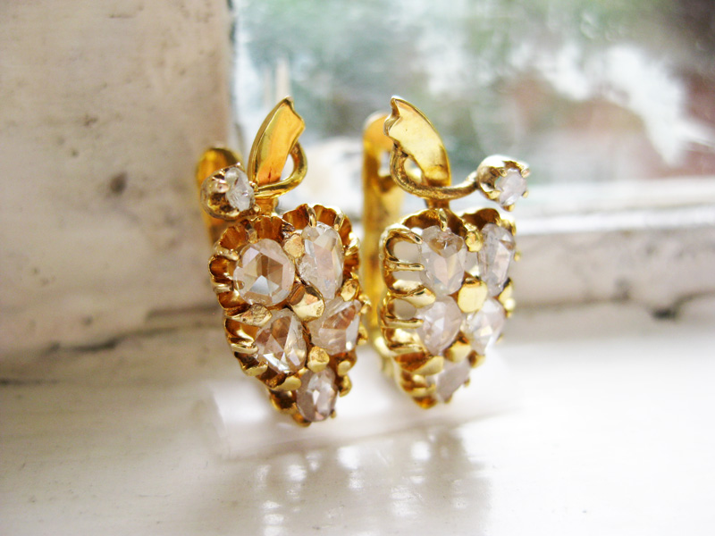 Gold grape earrings with diamante